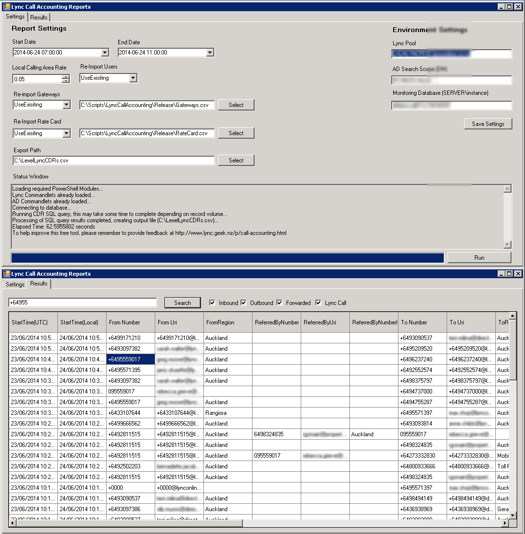 Lync Call Reporting App